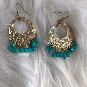 H & M turquoise and gold earrings